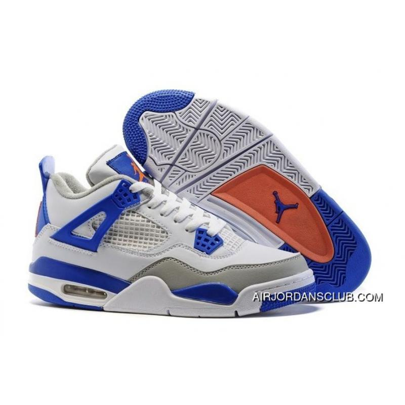 online store 21621 fe245 Air Jordan 4 White/Deep Royal Blue-Wolf Grey-Hyper Orange New Style