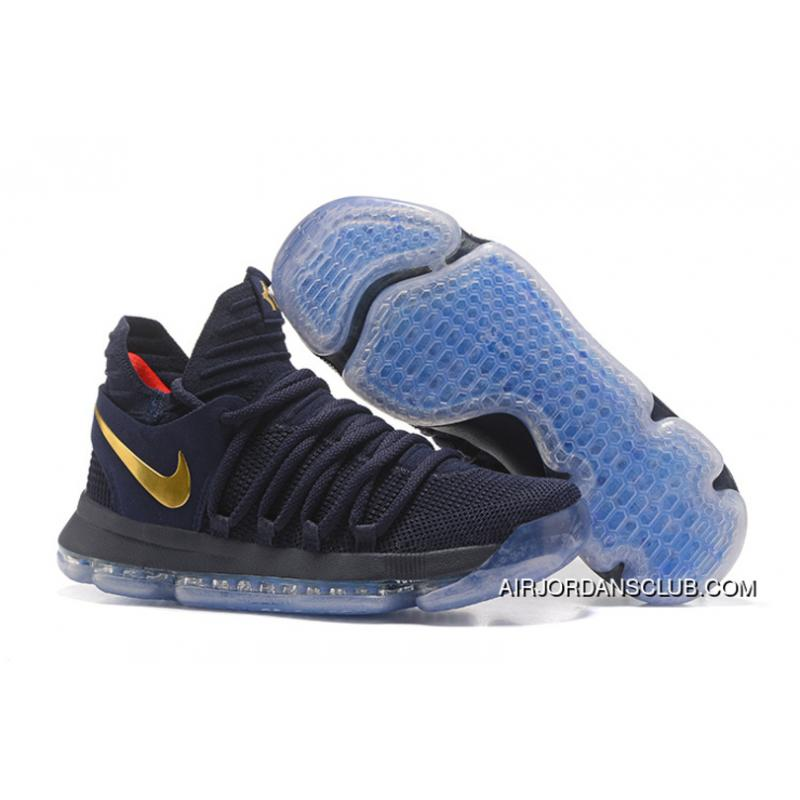new concept ab2a0 48aab 2017 Kevin Durant Nike Kd 10 Gold Medal Obsidian-Gold Best ...